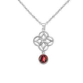 Celtic Knot Silver Pendant with Garnet 9346